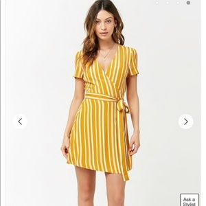 Mustard and cream Striped Surplice Wrap Dress